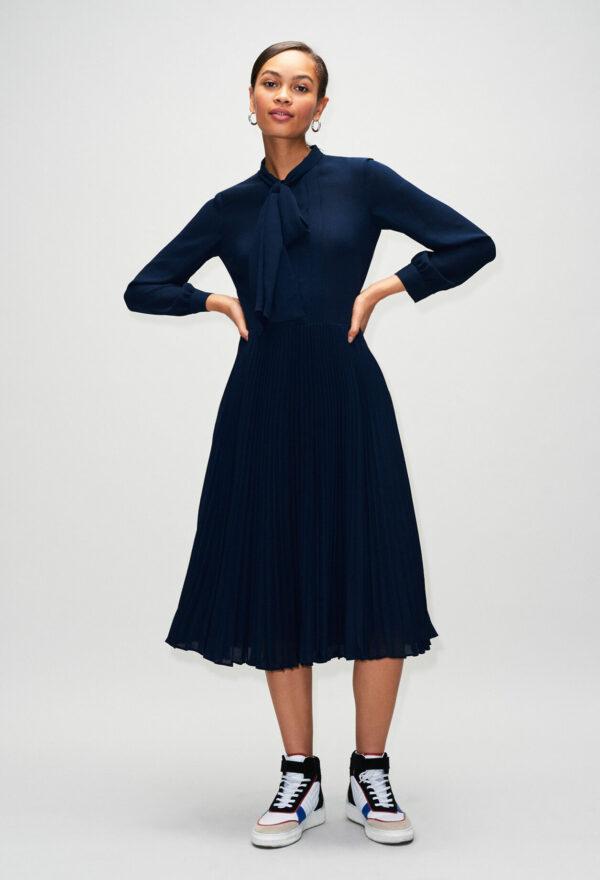 Robe longue plissée à col lavallière Claudie Pierlot