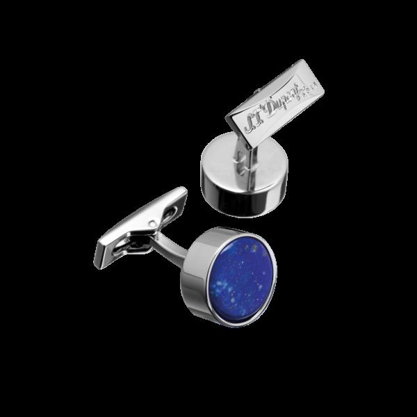 Boutons de manchette rond Lapis Lazuli Palladium