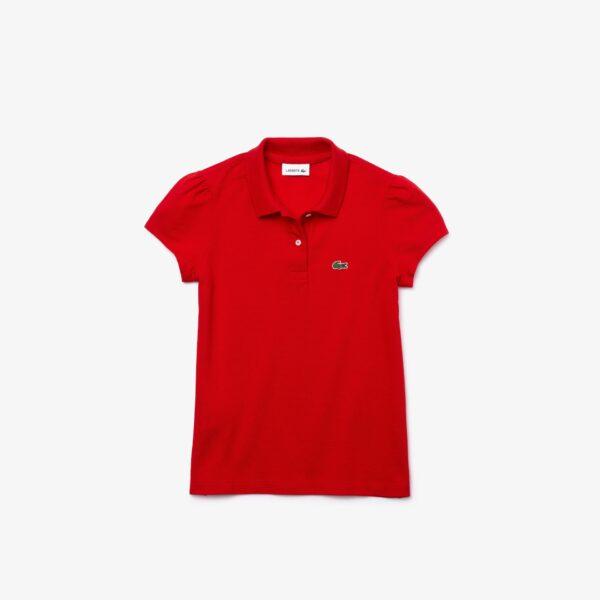 Polo Fille Lacoste en mini piqué avec col festonné Taille 12 ans Rouge