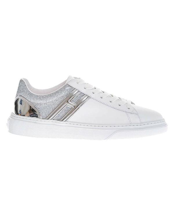 Hogan – Cassetta – Sneakers en cuir avec arrière à paillettes 40 blanc