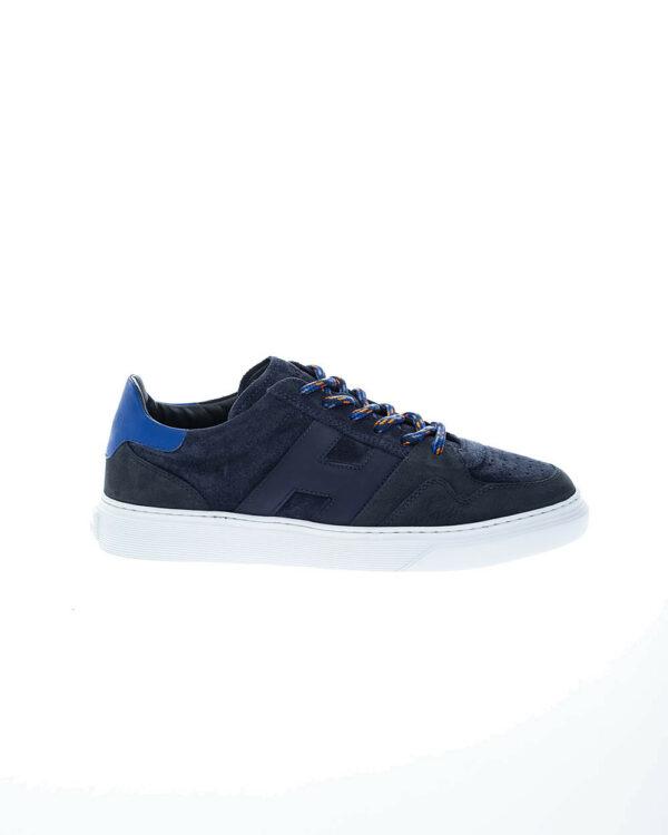 Hogan – Cassetta – Sneakers en cuir naturel et nubuck lacets façon trekking 11 bleu