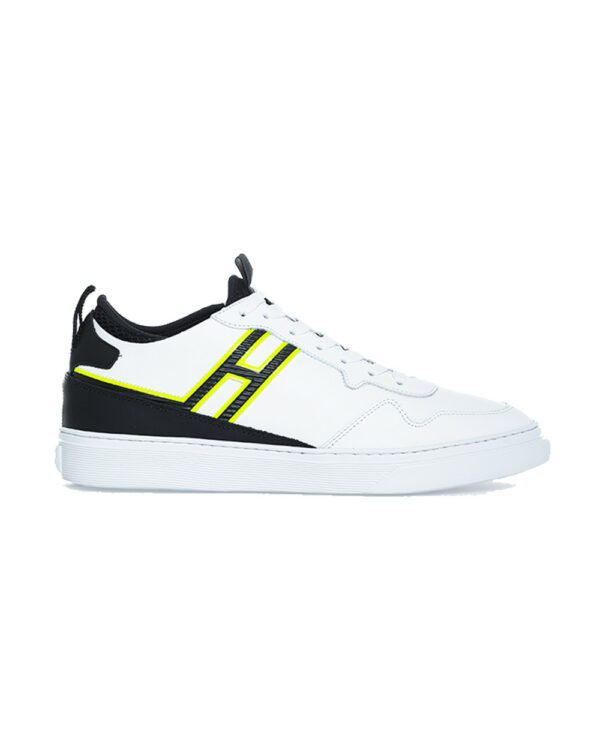 Hogan – Cassetta – Tennis en cuir et textile avec logo fluo 11 blanc