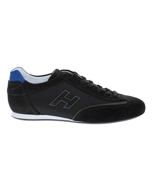 Hogan – Olympia – Sneakers en croûte de cuir et toile logo «h» 8 noir