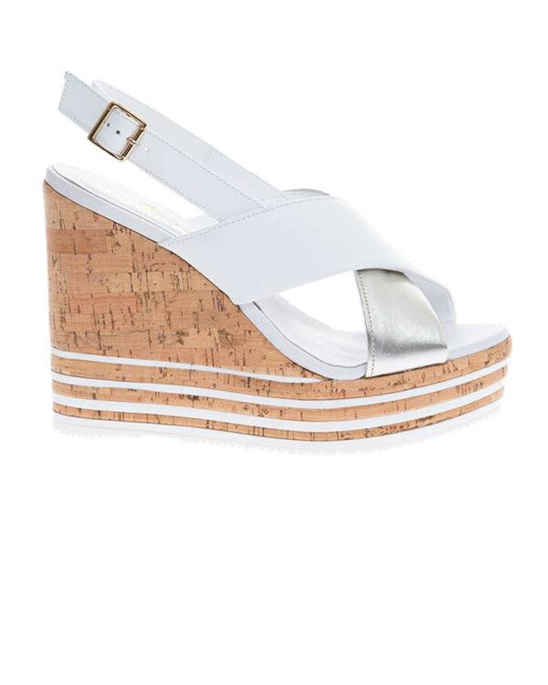 Hogan – Zeppa Sughero – Sandales en cuir avec compensé en liège 110 37 blanc