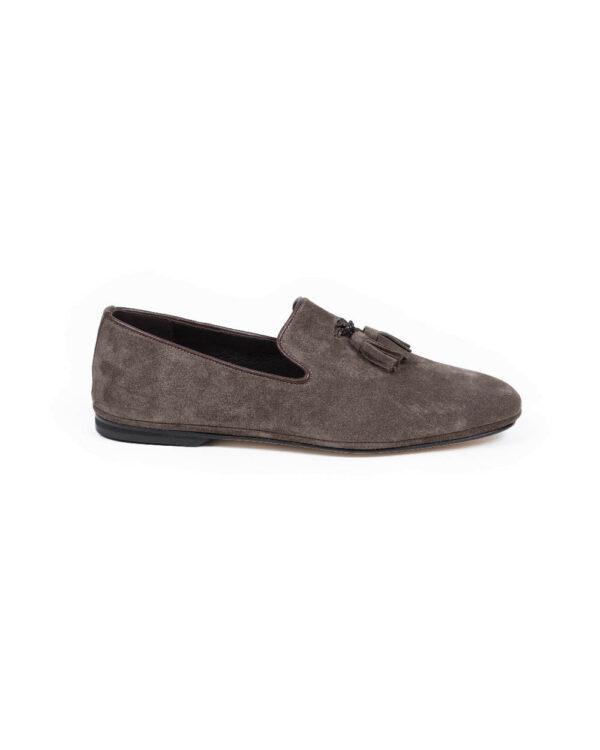Jacques Loup – Chaussures d'intérieur sans-gêne en veau-velours avec pompons 46 Marron