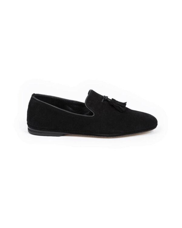 Jacques Loup – Chaussures d'intérieur sans-gêne en veau-velours avec pompons 47 noir