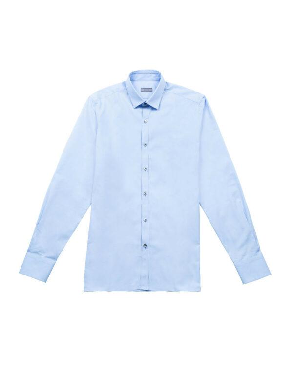 Lanvin – Chemise en coton avec patte de boutonnage 40 bleu