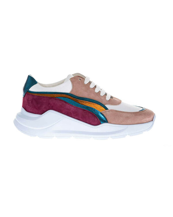 Mai Mai – Running en cuir avec empiècements multicolores 39 blanc