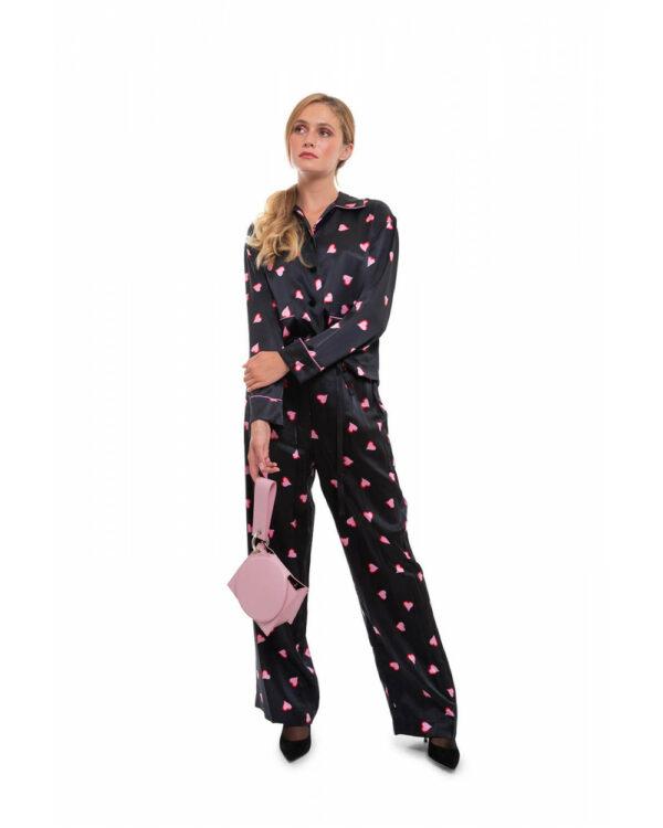 Marc Jacobs – Chemisier et pantalon en soie avec coeurs roses multicolor XS