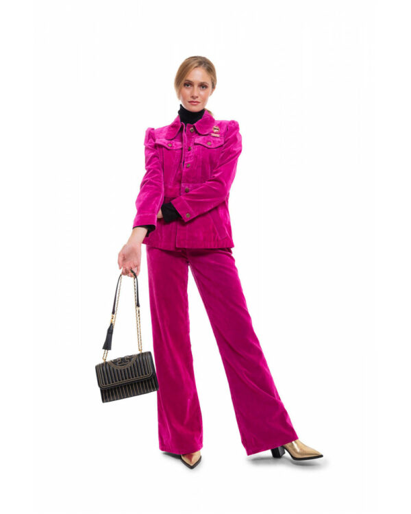 Marc Jacobs – The Velveteen Jean – Veste et pantalon en coton style flared fushia M