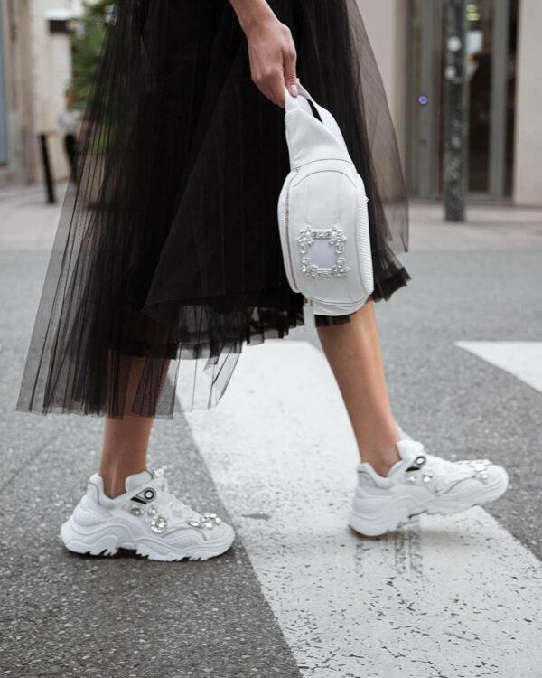 N°21 – Billy – Sneakers en cuir avec strass et semelle oversized 37 blanc