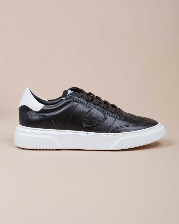 Philippe Model – Temple – Baskets en cuir avec contrefort en contraste 44 noir
