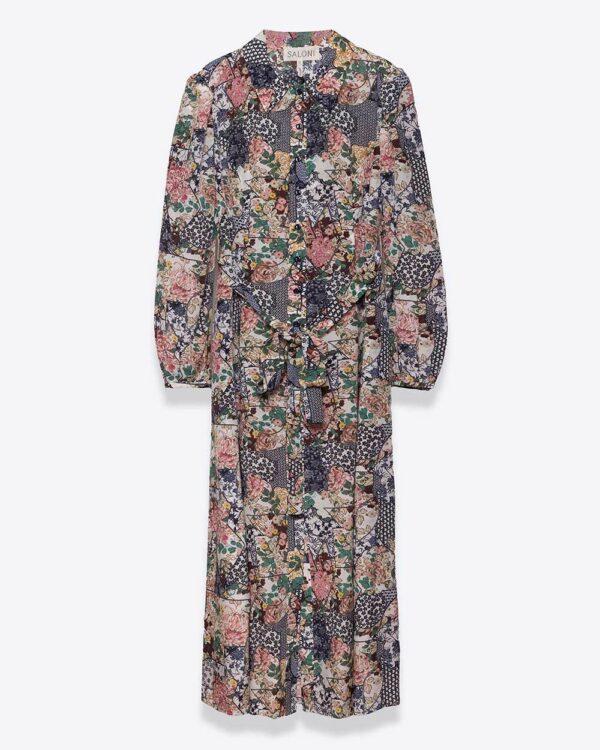 Saloni – Vanessa-B – Robe chemisier en soie avec ceinture ML 14 multicolor