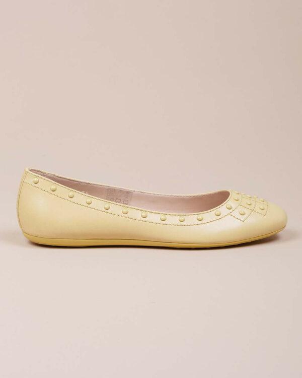 Tod's – Ballerines en cuir avec motifs picots 40 1/2 jaune