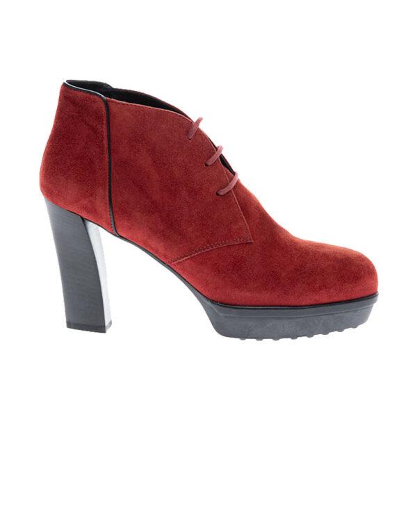 Tod's – Derby boots à talon en croûte de cuir 95 40 Bordeaux