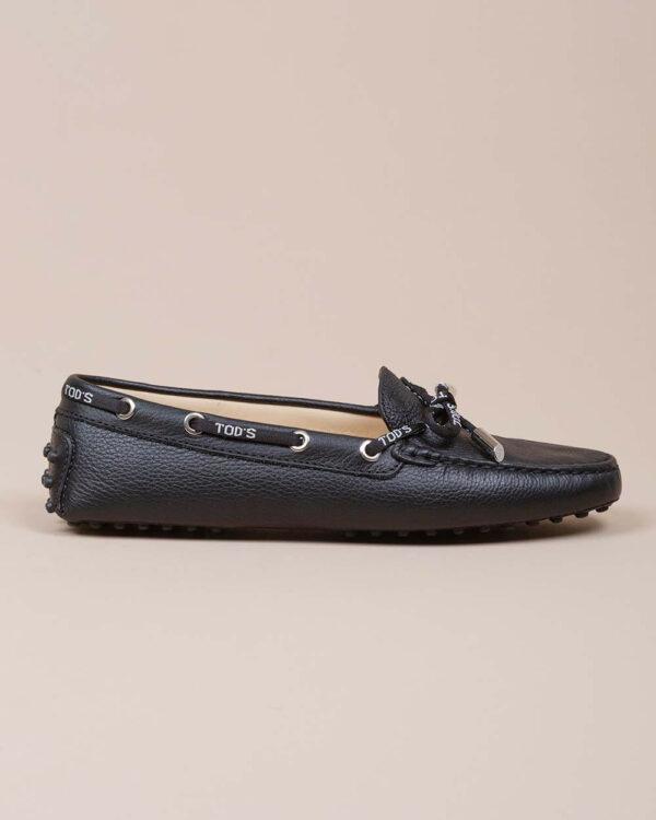 Tod's – Lacetto Gommini – Mocassins en cuir grainé avec lacets 40 noir