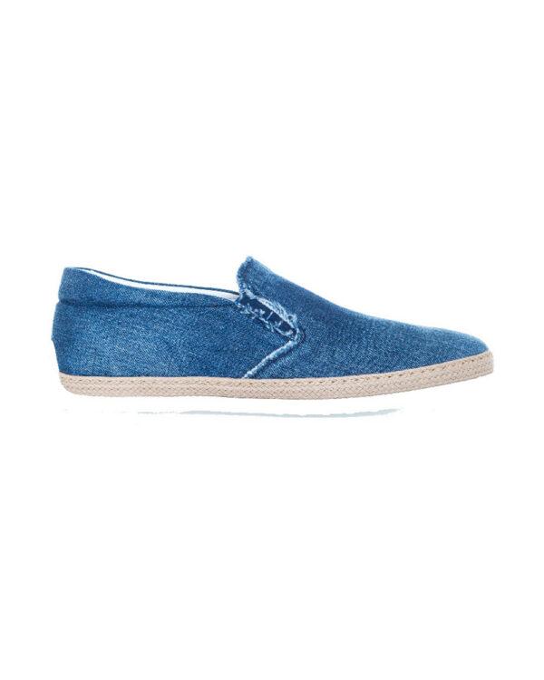 Tod's – Pantofola – Sans gêne en jean délavé avec élastiques 9 bleu clair