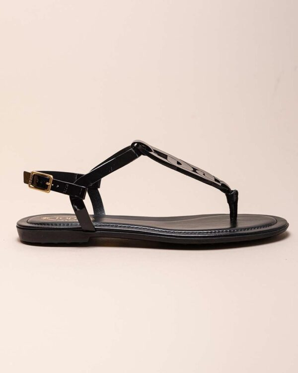 Tod's – Sandales entredoigt en cuir vernis avec motif maillon 40 1/2 noir