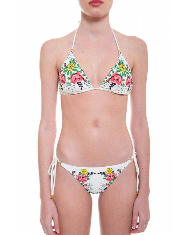 Tory Burch – Bikini décoré avec un imprimé floral multicolore ivoire L