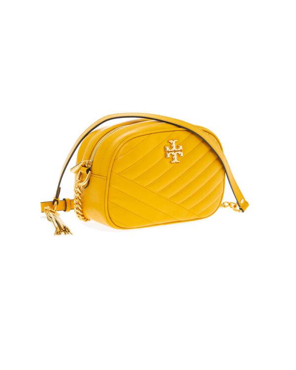 Tory Burch – Camera Bag – Sac matelassé en cuir avec logo double T – jaune