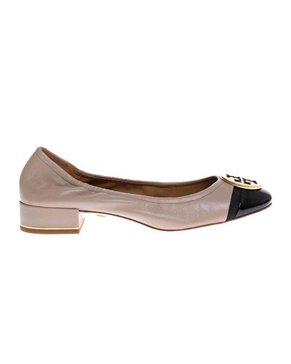 Tory Burch – Minnie Cap-Toe Ballet – Ballerines en cuir avec pièce en métal 25 10 beige