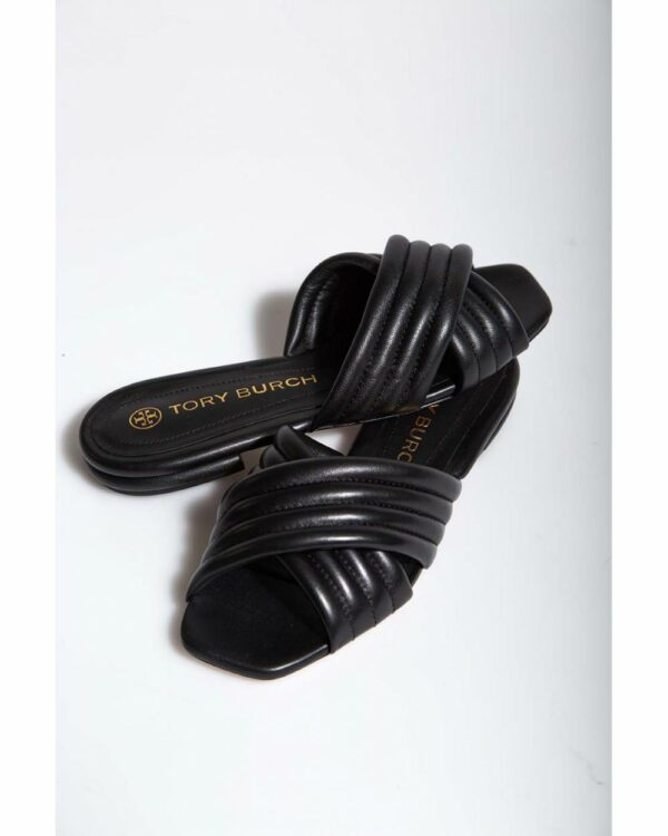 Tory Burch – Mules plates en cuir avec bandes matelassées 15 6 noir