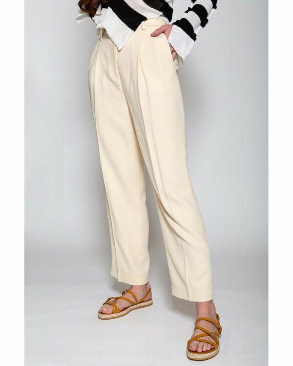 Tory Burch – Pantalon à pinces ample en crêpe de chine 2 ivoire