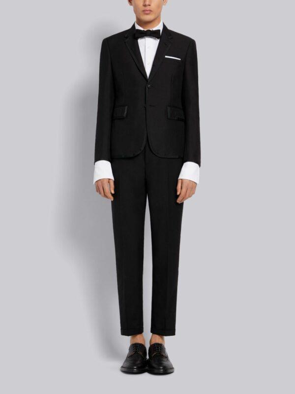 Thom Browne Black 3Ply Wool Mohair High Armhole Tuxedo