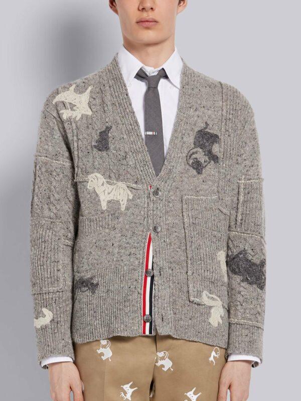 Thom Browne cardigan texturé à broderies