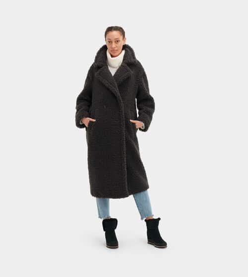 UGG Gertrude Long Teddy Coat pour Femmes en Ink Black, taille TTP