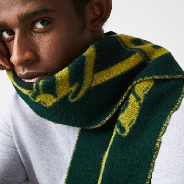 Écharpe unisexe Lacoste L!VE en laine à rayures Taille Taille unique Vert/jaune/noir
